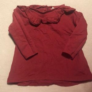 Cranberry colored ruffle top shirt